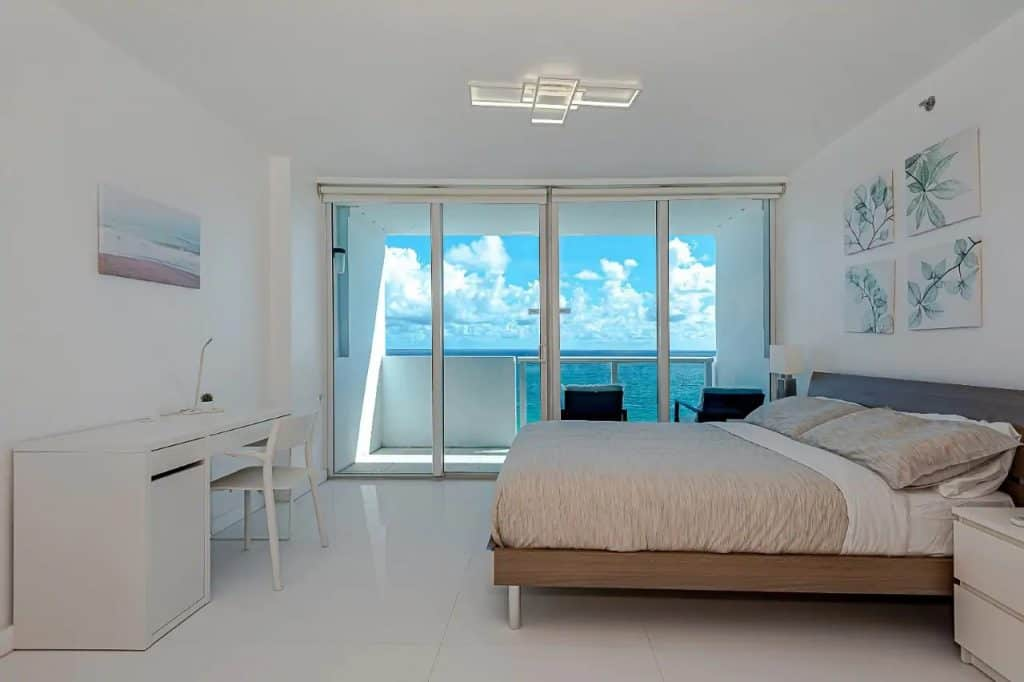 Photo of an ocean view from bed in an Airbnb in Miami.