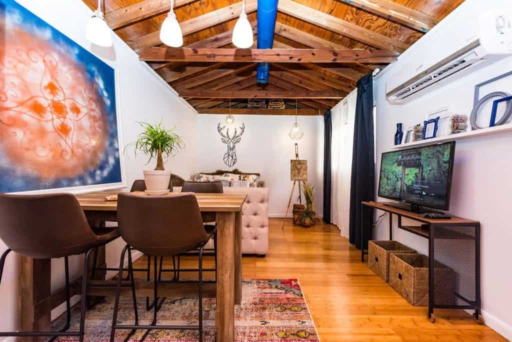 Photo of the living space inside The Atelier Airbnb in Miami.