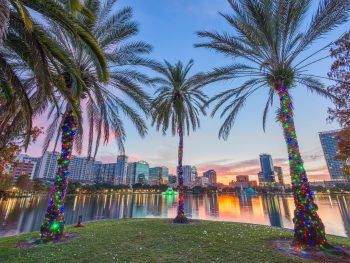 Photo of Eola Lake during Christmas in Florida.