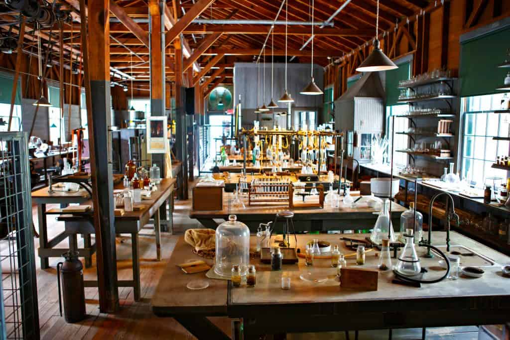 historic laboratory filled with test tubes and beakers