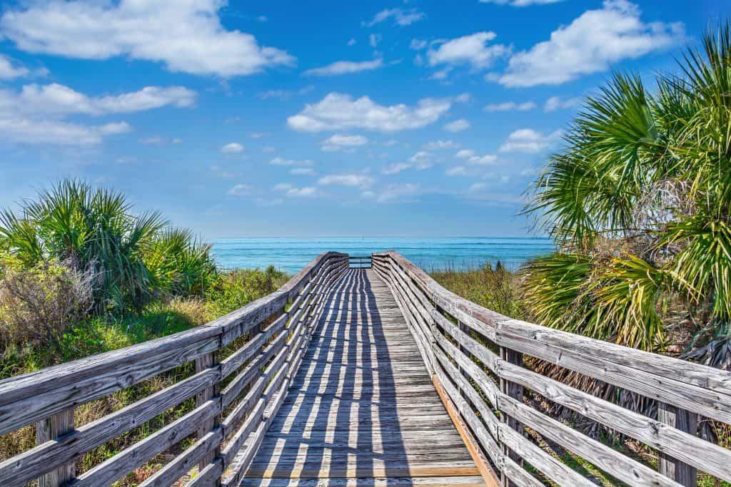wooden bridge leading to ocean