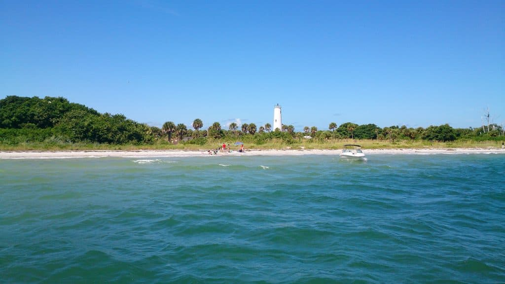 view of the lighthouse on Egmont Beach Island near Tampa Florida taken from the water