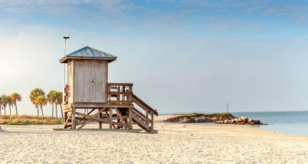 Lifeguard hut overlooking the beautiful Fred Howard beach near Tampa Florida