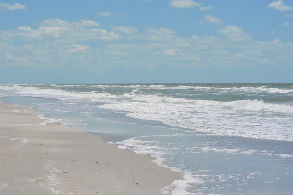 Soft white sand beach of Indian Rocks beach in Tampa Florida