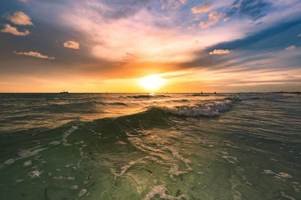 Beautiful sunset overlooking Maderia Beach near Tampa Florida