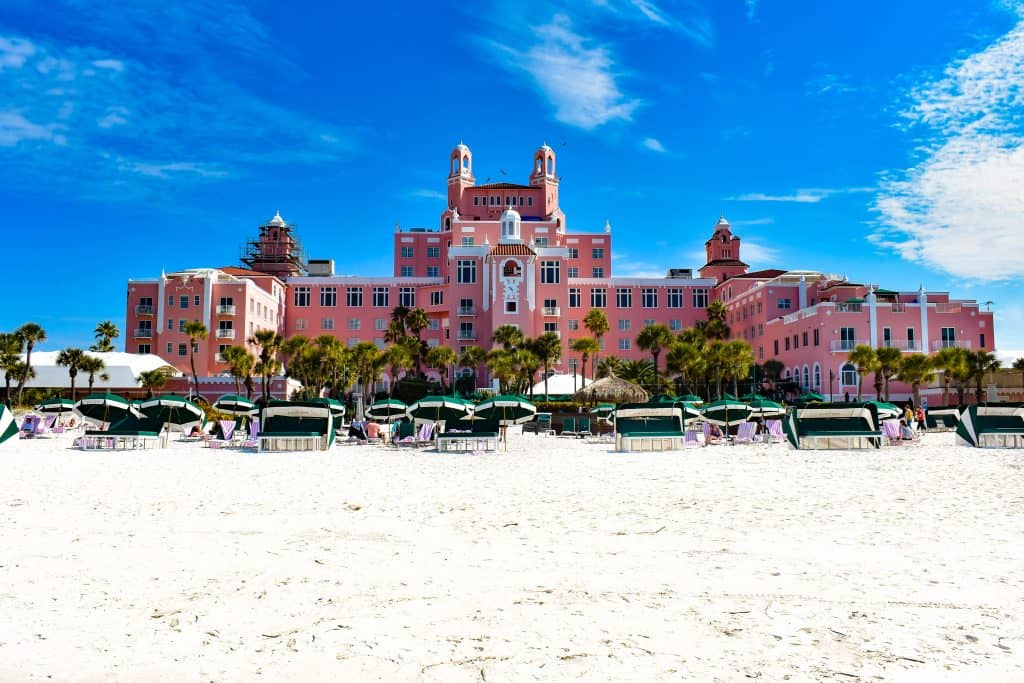 The Don CeSar hotel serving as a backdrop for the sandy white St. Pete beach near Tampa Florida