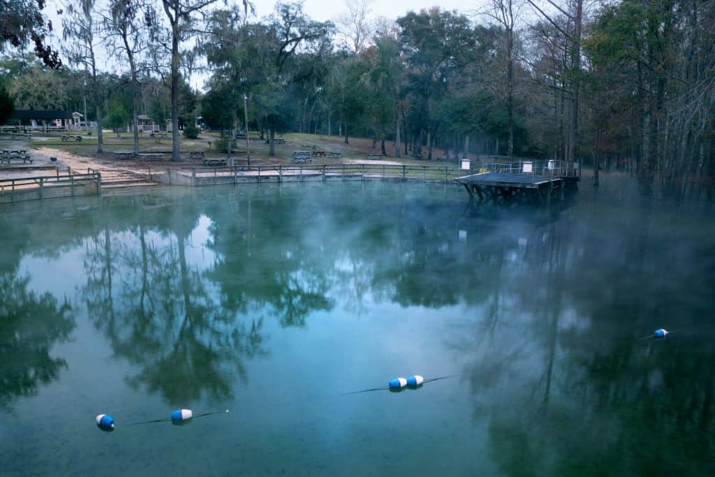 Early morning at Gilchrist Blue Springs, one of Florida's natural springs.