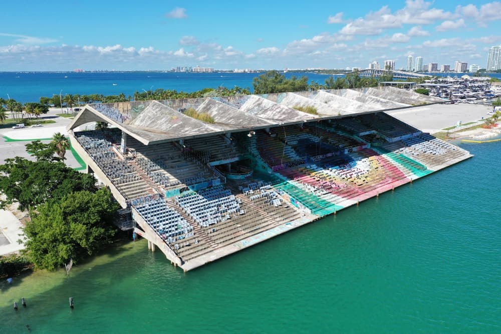 Although no longer in use, the Miami marine Stadium is still cool to explore with its street art.