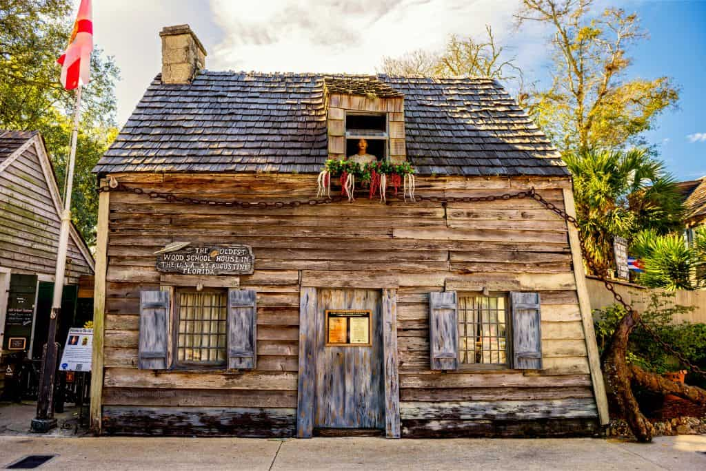 Photo of the oldest schoolhouse in America, which you can see on Secrets of Saint Augustine Ghost Tours.
