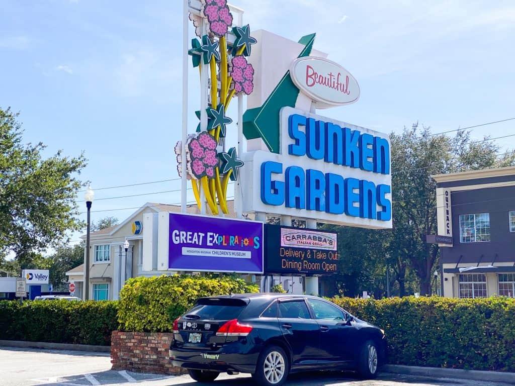 sign for the sunken gardens in saint petersburg florida