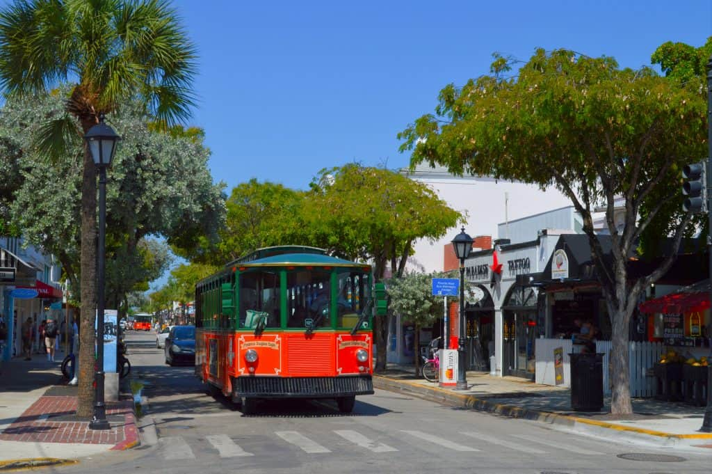 Trolley in Downtown best things to do in key west