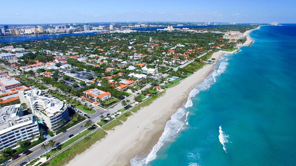 aerial view of Palm Beach coastline weekend getaways in Florida
