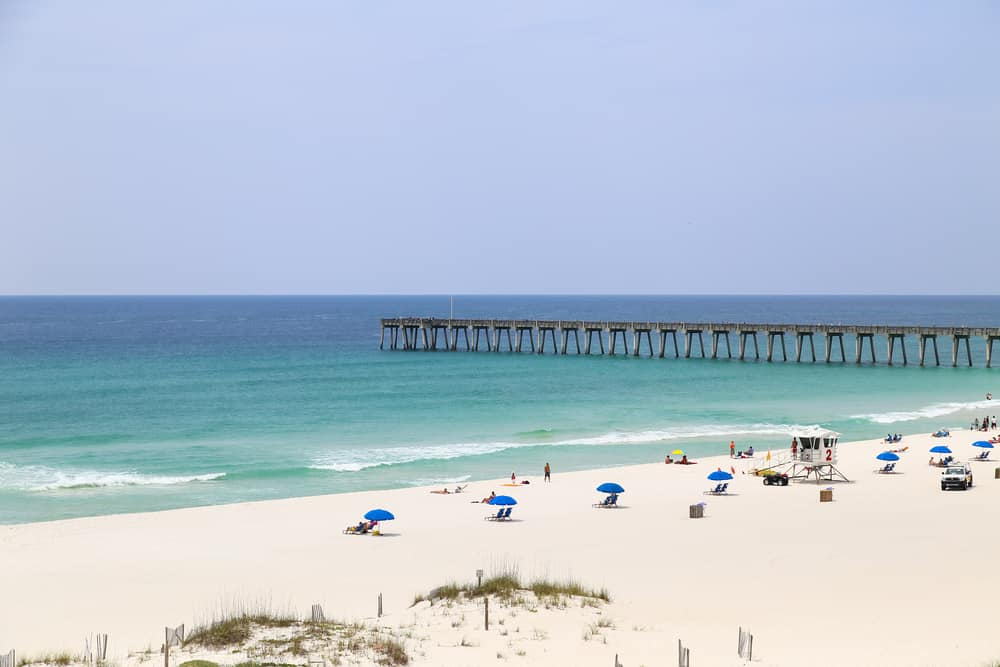 pier jutting out into the waters of Pensacola Beach