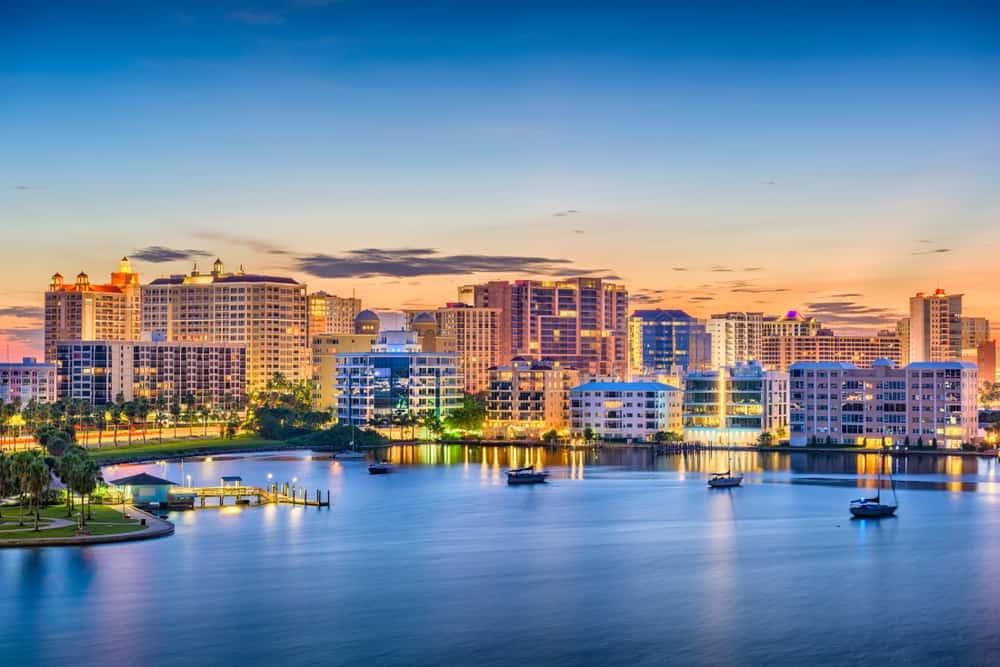 buildings and water of Sarasota skyline weekend getaways in Florida