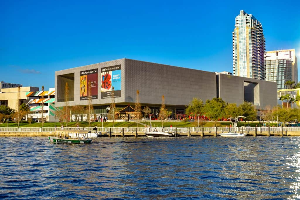 The view of the Tampa Museum of Art from the Hillsborough River, one of the best things to do in Tampa.