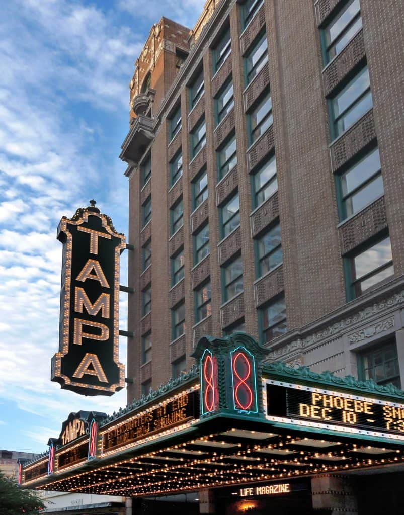 The marquis of the Tampa Theatre, one of the great things to do in Tampa this weekend!