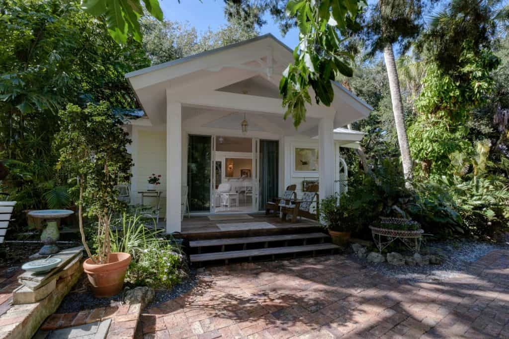 The second of two Siesta Key Cottages in Florida. This tropical oasis is a secluded two acre beachfront property.
