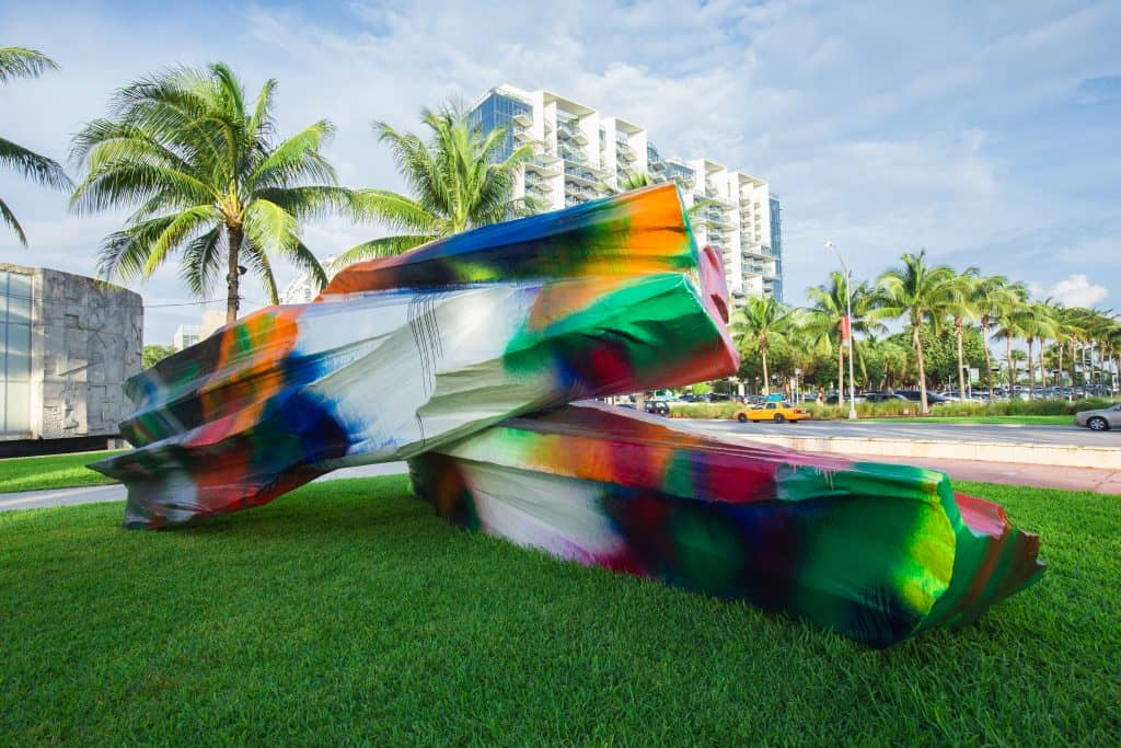A colorful outdoor sculpture at Art Basel Miami Beach, one of the best art festivals in Florida.