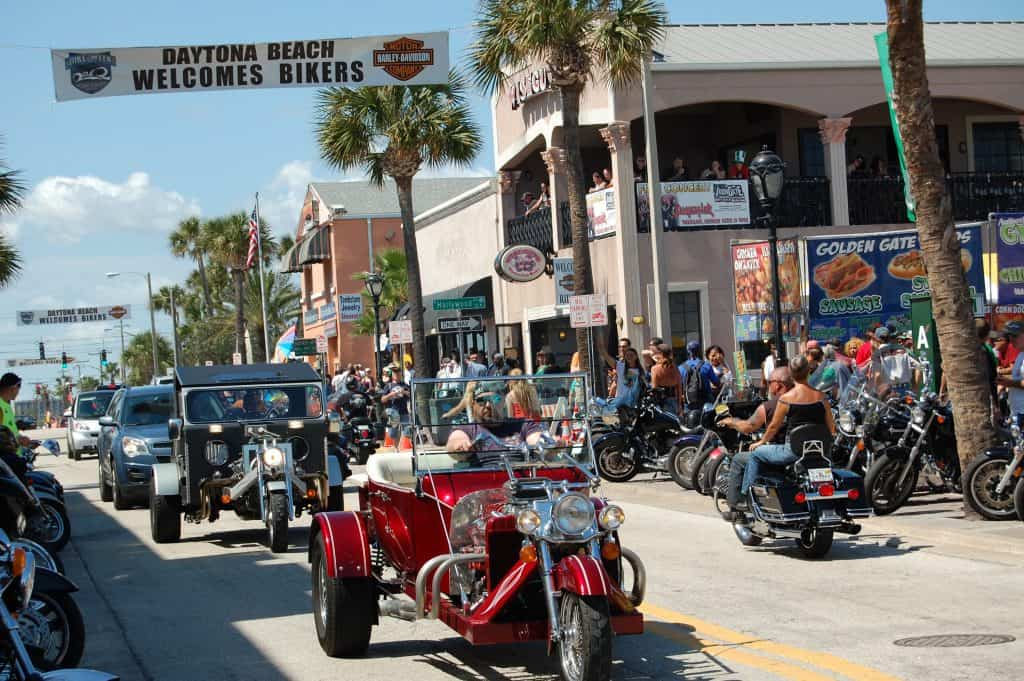 Vintage, custom, and colorful motorcycles parade around Daytona Bike Fest, one of the most fun festivals in Florida.