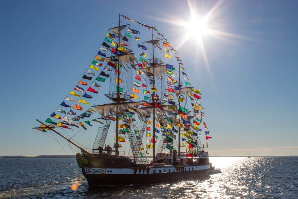 Captain Jose Gaspar's pirate ship sails into Tampa Bay at Gasparilla, one of the most infamous Florida festivals.