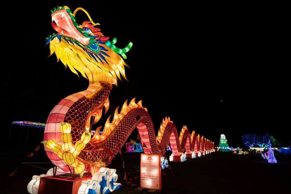 The 300-foot long dragon, completely made of lanterns, stands tall at the Lantern Light Festival in Florida.
