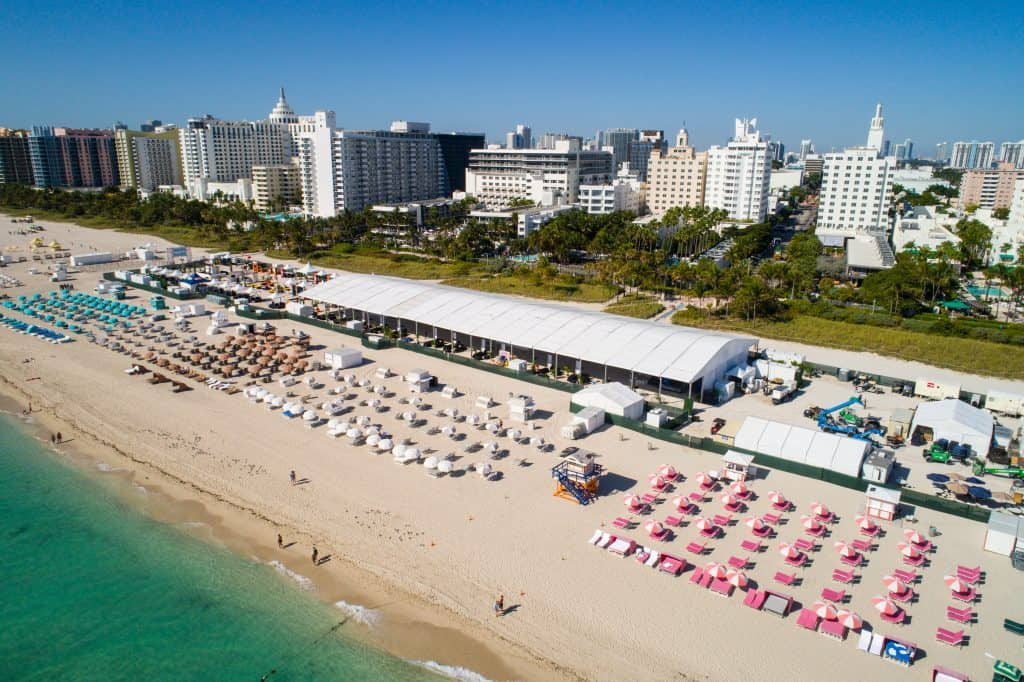 Cabanas and tents crowd South Beach at the Food and Wine Festival.