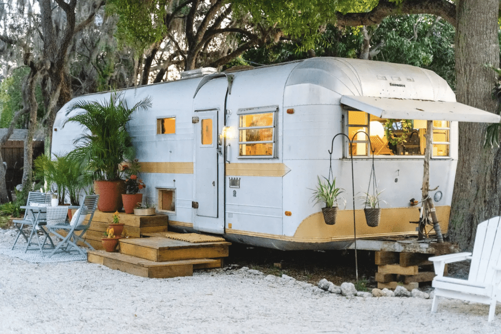The beautiful 1971 Vintage Airstream, ready for glamping in Florida.