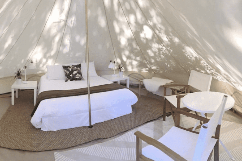 The white interior of the beautiful luxury bell tent on 30a in Panama City, Florida.