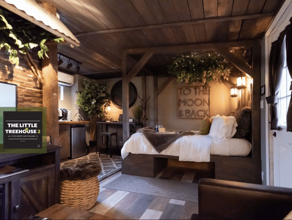 The beautiful amenities of the Little Treehouse 2 in downtown Orlando, a beautiful experience for glamping in Florida.