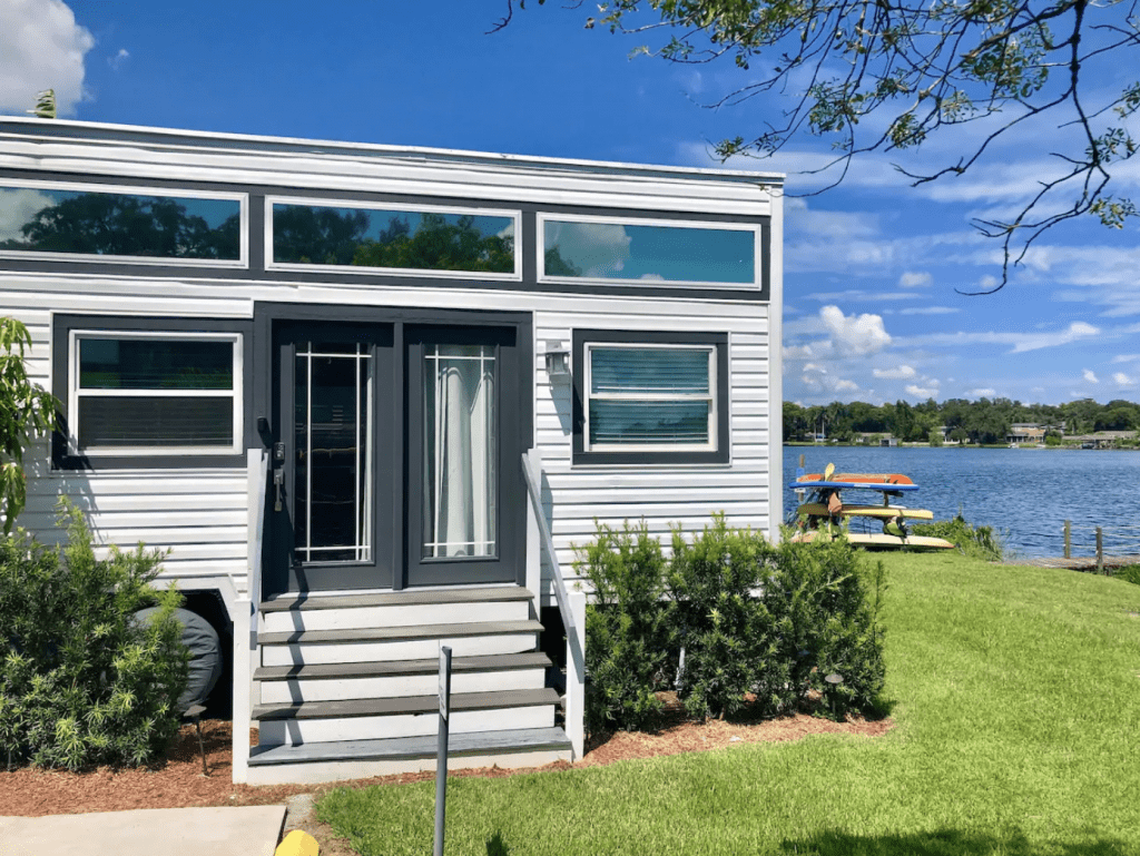 The Ritz sits just on the shores of the lake, perfect for Florida glamping.