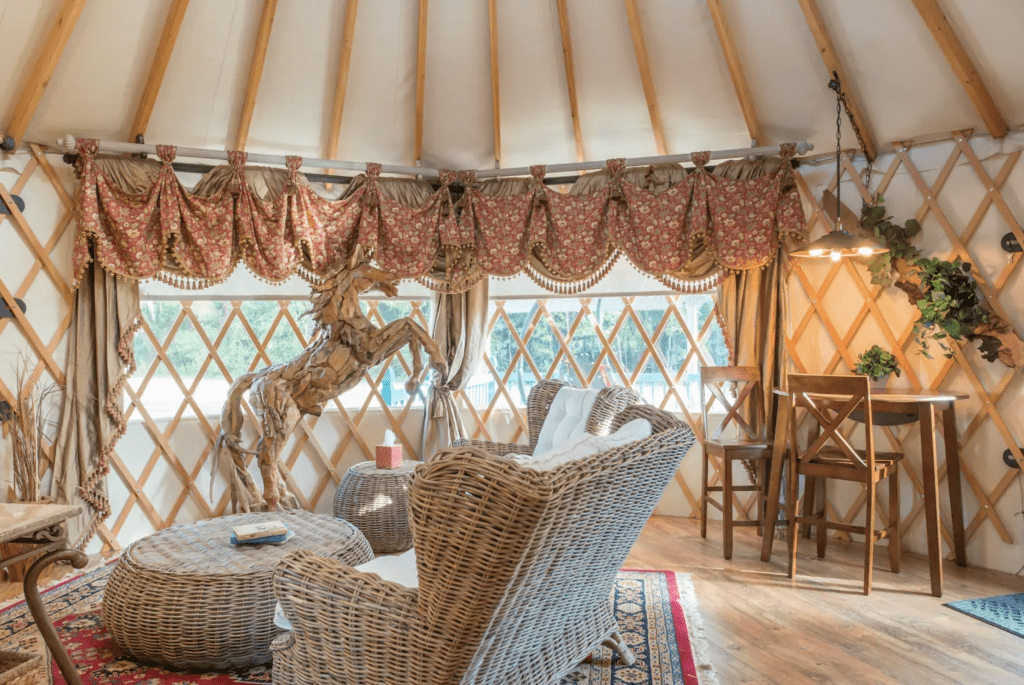 The rustic charm of the interior of the Yurt at Danville, one of the most romantic yurts in Florida.