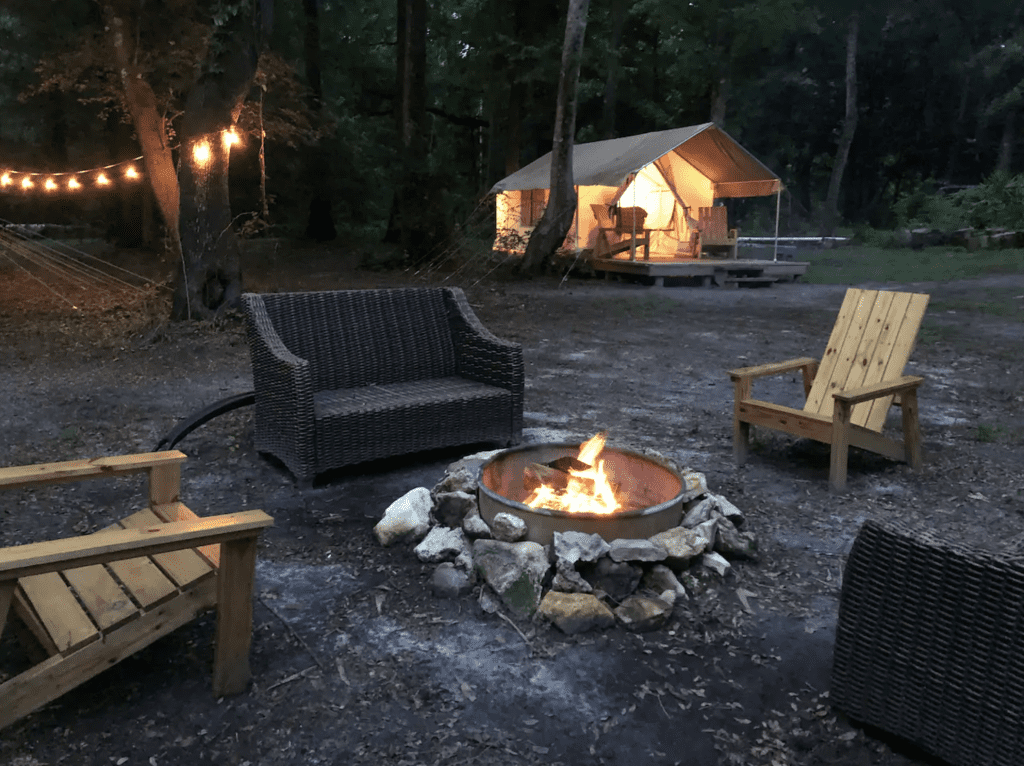 The lovely fire pit in between the tents at Your Safari, one of the best places for glamping in Florida.
