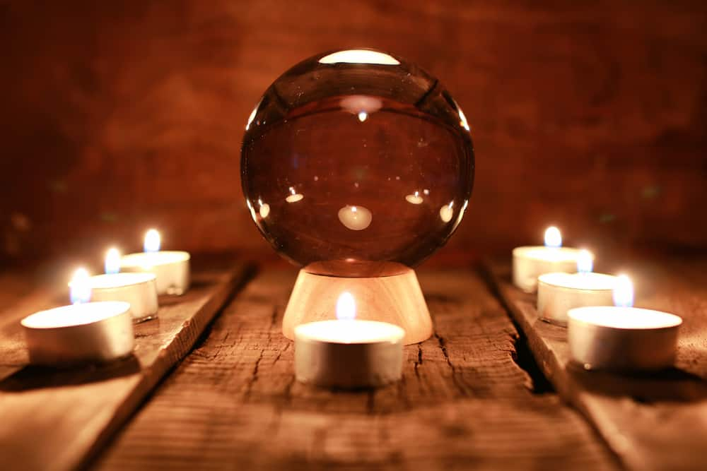 Crystal ball representing mediums and psychics in Cassadaga, one of the most haunted places in Florida.