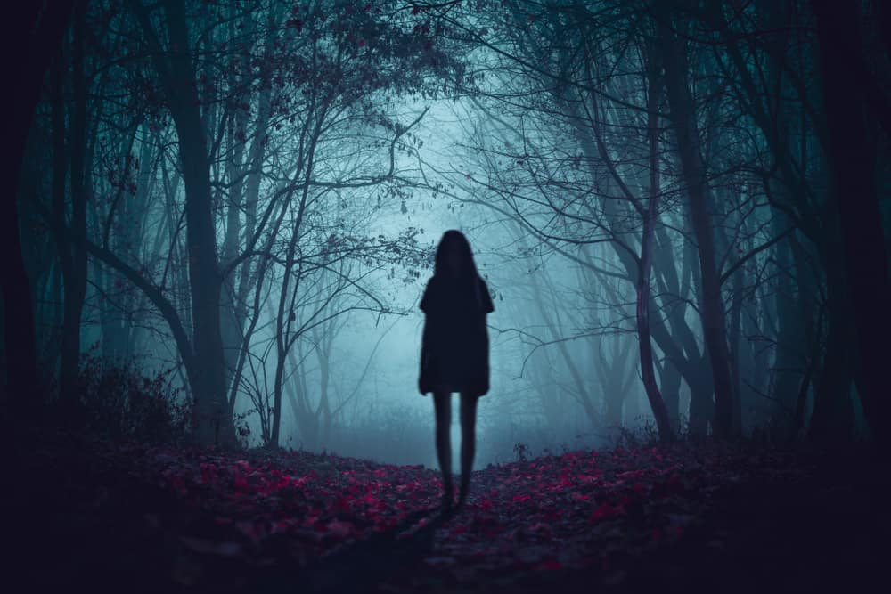 Creepy photo of ghost girl in a forest.