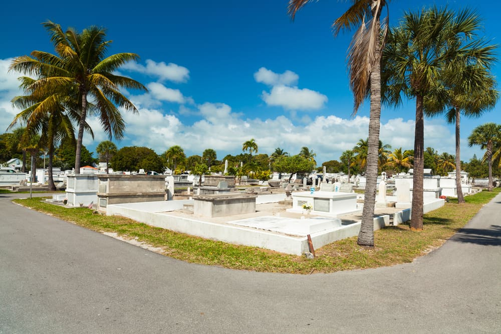 Daytime photo of Key West Cemetery, one of the most haunted places in Florida.