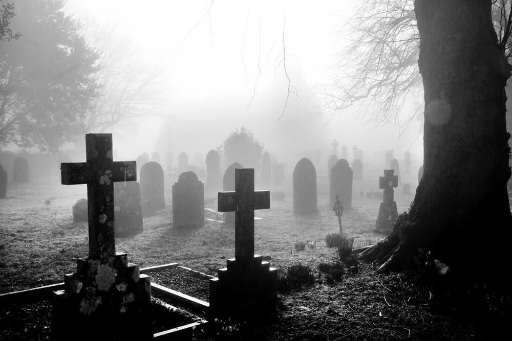 Black and white photo of creepy graveyard.