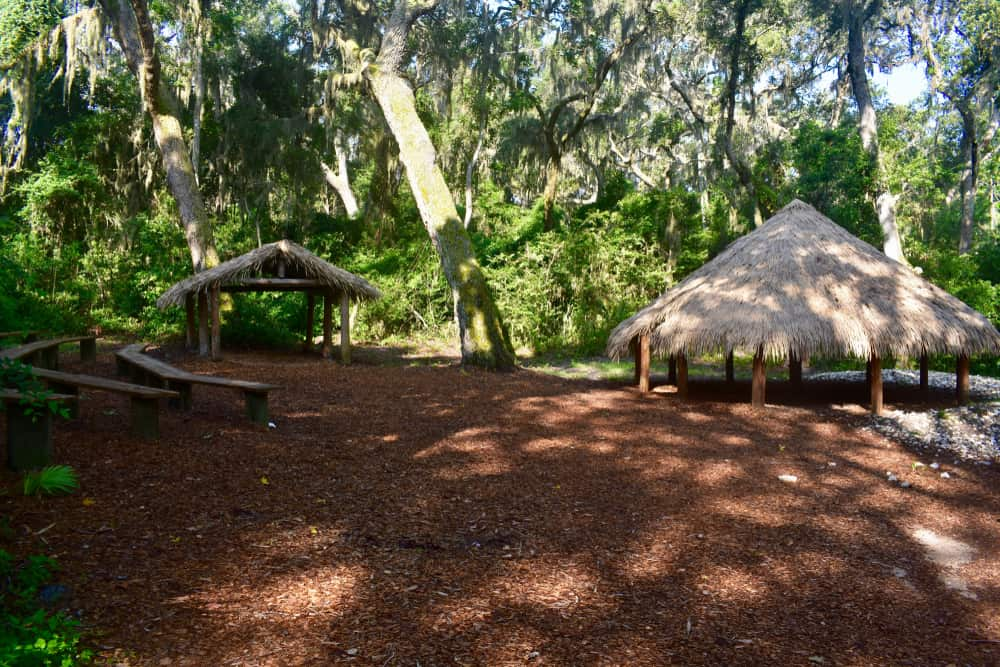 Photo of the huts and amphitheater at Fort Caroline National Memorial, one of Florida's National Parks.