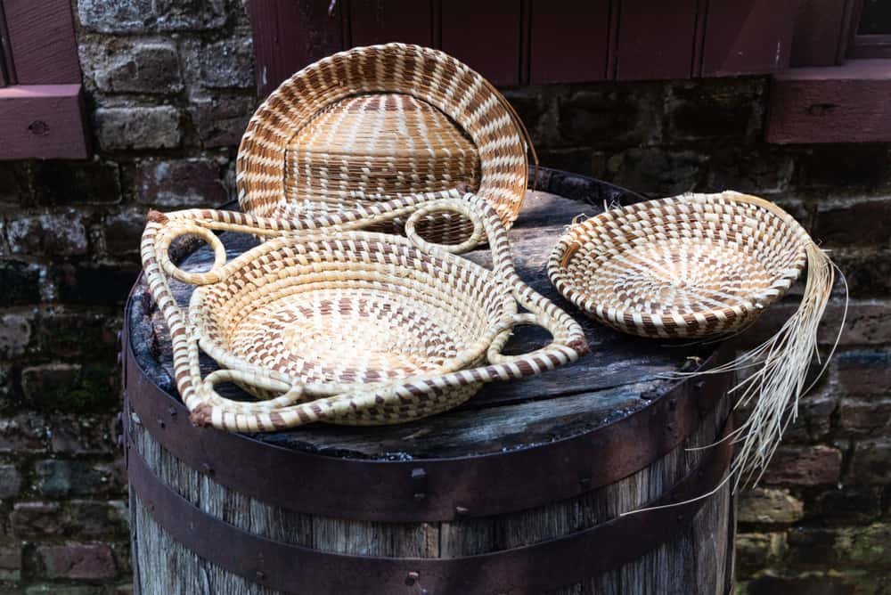 Photo of hand-made sweetgrass baskets woven in Gullah/Geechee style