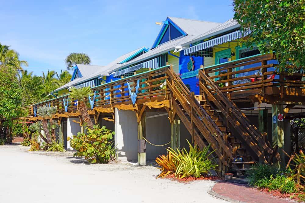 Downtown Captiva Island colorful village centre shops.