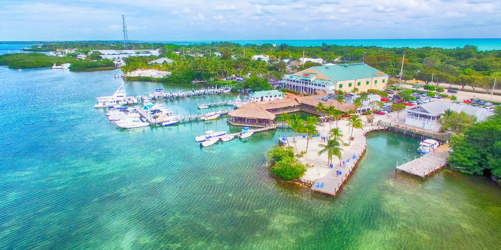 An aerial view of beautiful Islamorada one of the best small beach towns in Florida.