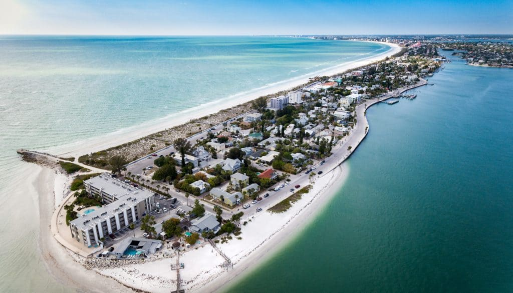 An aerial view of Pass-A-Grille Beach, which has one of the best Tampa dog beaches!