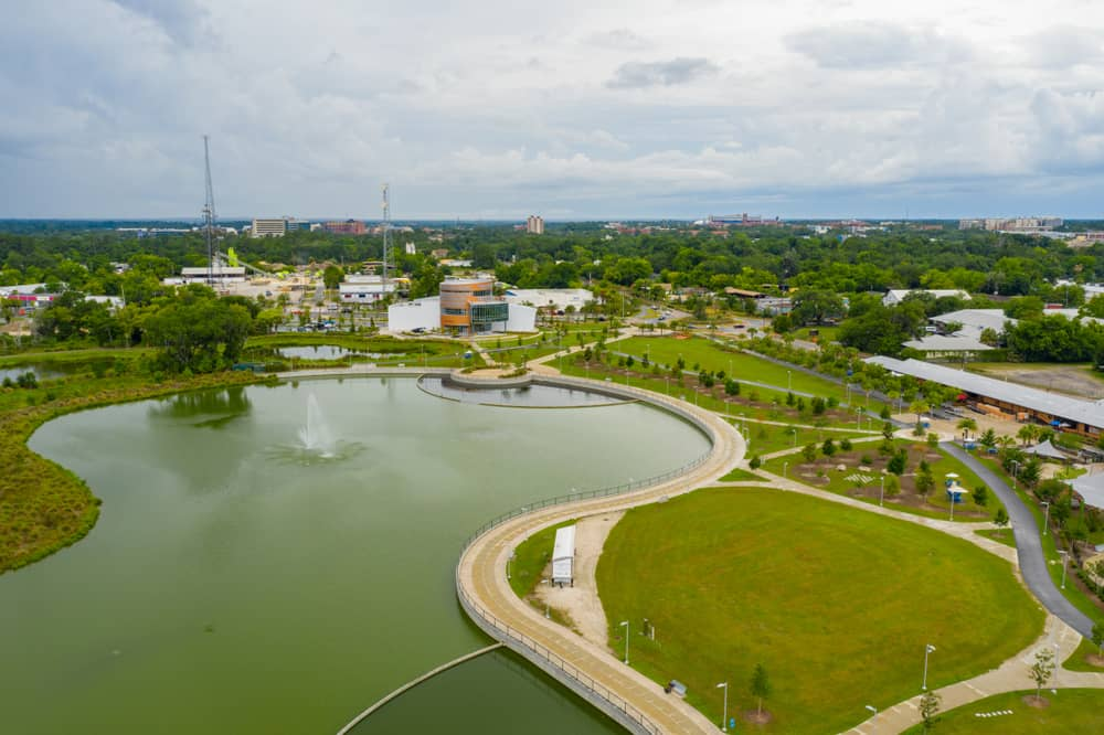 An Ariel view of Cade Museum and surrounding walking trails at Depot Park perfect thing to do in Gainesville.