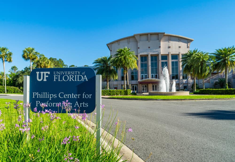 The Phillips Center for Performing Arts located in Gainesville Florida, with a beautiful fountain entrance.