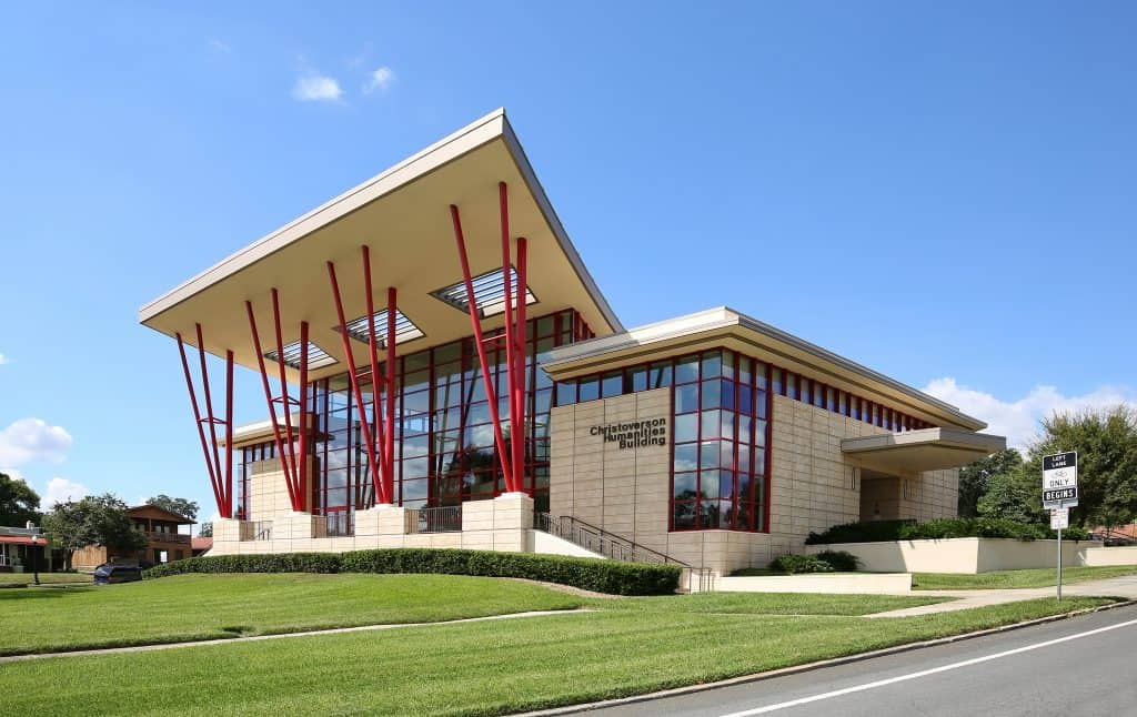 One of the beautifully designed buildings on the Florida Southern College campus, one of the best things to do in Lakeland.