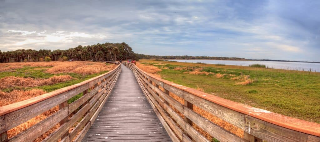 The long path of the Birdwalk at Myakka River State Park, one of the best Sarasota attractions.