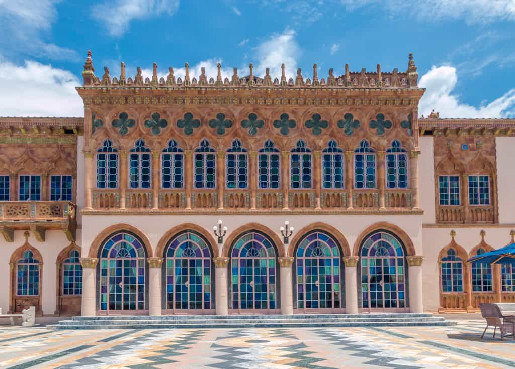 The beautiful Italian-inspired architecture of the Ringling Museum of Art, one of the best things to do in Sarasota.