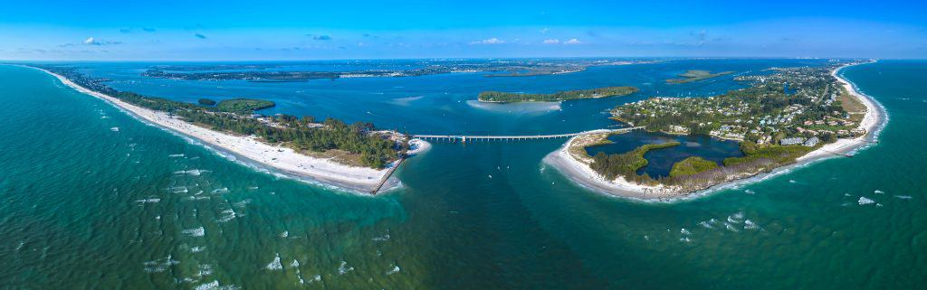 An aerial view of the bridge leading into Sarasota.