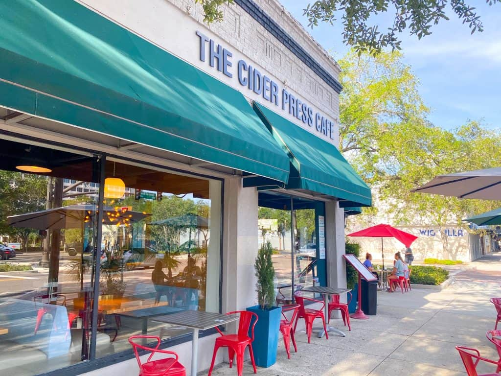 The cider press café exterior one of the best vegan restaurants in St. Petersburg Florida