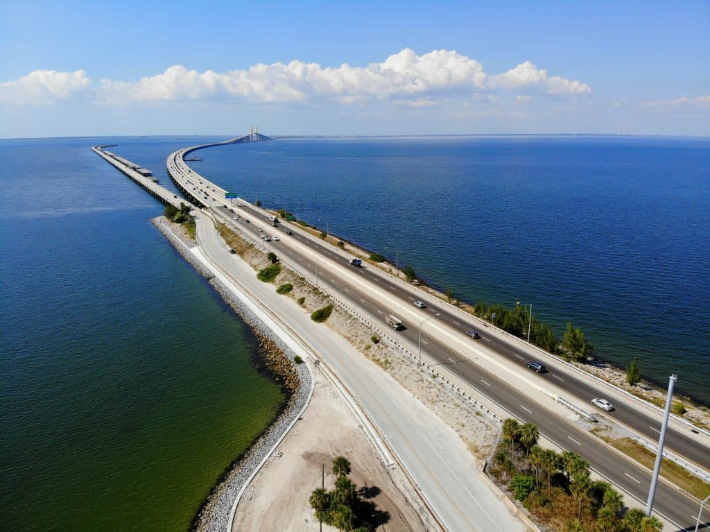 The 4-mile-long fishing pier located off the skyway bridge in St. Petersburg Florida