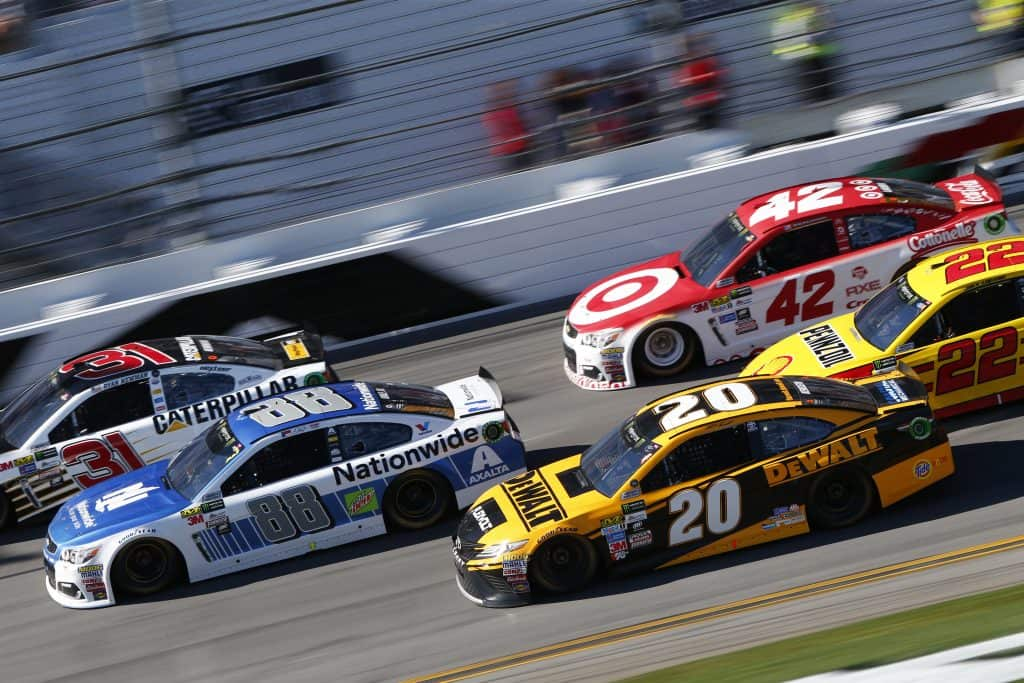 Cars race on the Daytona International Speedway at the Daytona 500!